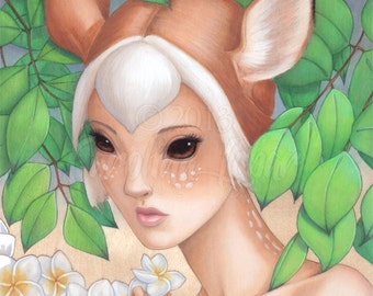 "Fine art print ""Feon"" Bambi Girl with Big Eyes in Forest with Plumeria - part of Wild Things Series by Carolina Lebar - 5"" x 7"""