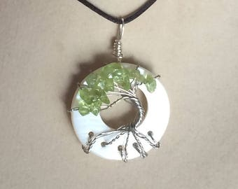 Peridot Tree of Life Pendant MOP Wire Wrapped Shell Necklace