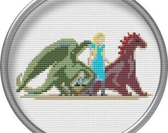 Game of Thrones Cross stitch pattern PDF Daenerys Targaryen Pixel people GoT Characters Embroidery design Sewing machine modern patterns