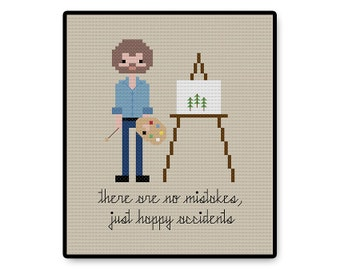 Bob Ross - Cross Stitch PDF Pattern - Gifts for her - Kids - Pixel People - Unique - TV - Movie - Cartoon - PBS - Painter - Artists - Cute