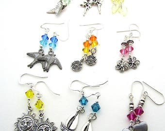 Three Pairs Sparkly Crystal Earrings, Assorted Designs, Mixed Colours, Fiver Friday Special Offer
