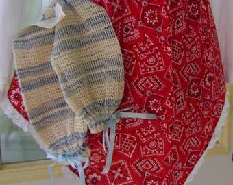 Hand Crafted, Unique,Apron & Britches Dish Cloths w/Poem, Western Bandana Patten