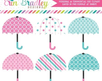 80% OFF SALE Baby Umbrellas Clipart in Pink & Blue Instant Download Commercial Use Graphics
