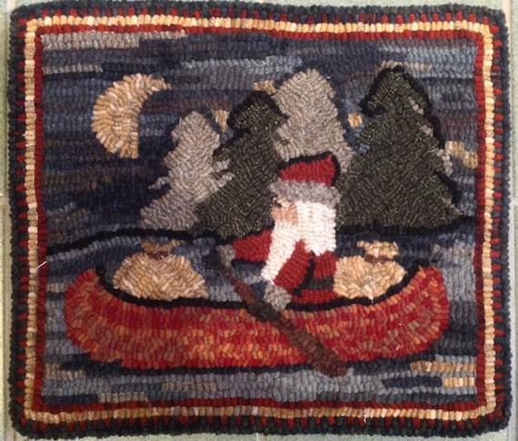 """Rug Hooking Pattern, Northwoods Santa  14"""" x 16, P121"""