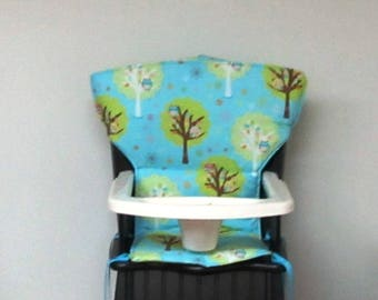 custom high chair pad for safety first wood chair or Eddie Bauer newport high chair, replacement chair cushion, kids chair cushion, owl tree