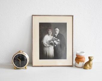Black White wedding portrait, vintage portrait photograph, couple 1920s photo sepia Ref: 495