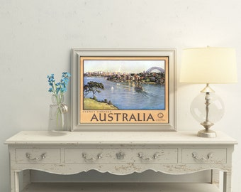 Australia Travel Poster Vintage Sydney Harbour Travel 1950s