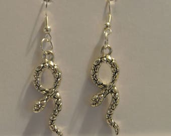 Silver Snake Earrings with Silver Fishhook