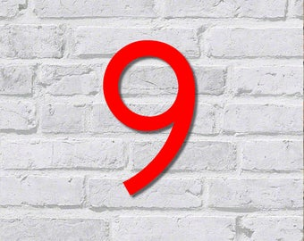 designer HOUSE NUMBER   7,8'' / 20cm / 200mm   made from coloured acrylic   incl. hidden standoffs, screws and plugs   rustproof