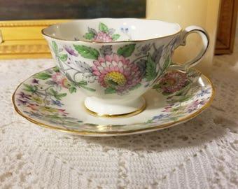 Grosvenor floral teacup and saucer