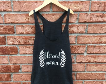 Blessed Mama - American Apparel Tri Blend Tank