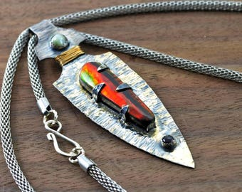 Arrow Head Silver and Gold Ammolite  Pendant