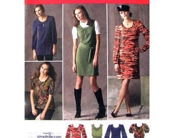 Mini-Kleid, langes Top, Hut Nähen Schnittmuster Simplicity 2850 Neckholder Tunika sammelt Puff Ärmel Damen Größe 4 bis 12 Schnittmuster