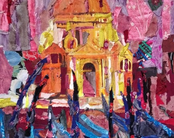 mixed media painting of St Mark's Cathedral Venice