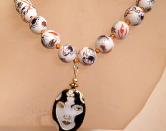 Vintage Lady Necklace - Hand Painted - Hand Knotted Silk Necklace - Cloisonne Pendant Necklace = Red Black White Necklace - OOAK