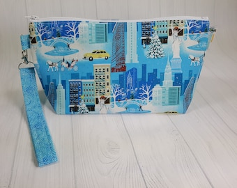 Small Knitting Project Bag - Winter in NYC - Zippered Wedge Bag, Zipper Knitting Bag, Cosmetic Bag, Sock Knitting Bag WS0074