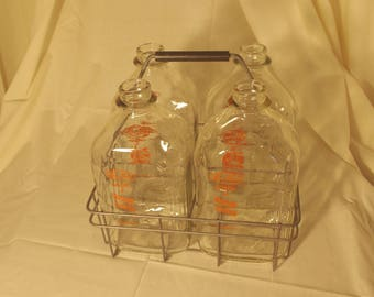 Vintage Farm Fresh Milk Bottles with Wire Carrier