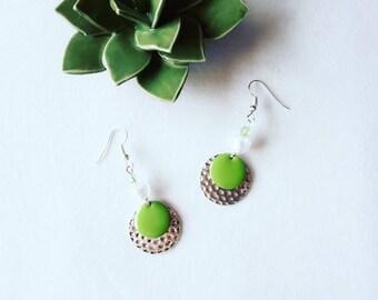 Earrings silver and green glass beads / gift for her / boho / elegant /original earrings