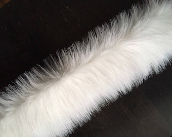 White Faux Fur Trim Long Pile Fur Fabric Trim For Hood For Home Toys Costumes Size 9*90cm (3.5x35 inches)