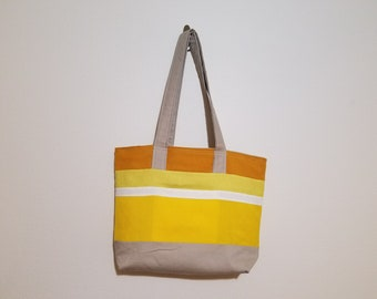 Tote Bag / Upcycled / Gold / Yellow / White / Beige