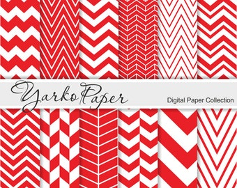 Red Chevron Digital Paper Pack, Chevron Scrapbook Paper, Digital Background, 12 Sheets, Personal And Commercial Use - Instant Download