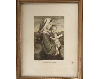 Vintage Etching of Madonna of Grace - Catholic Art The Madonna and Child with Prayer Book - RARE etching by William Dyce