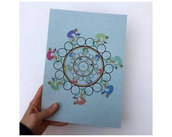 Bicycle Wheel print on blue 160g paper