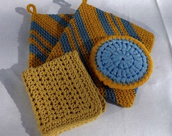 Kitchen Gift Set: 2 Large Potholders, 1 Dishcloth, 1 Large Nylon Scrubby, Yellow and Blue Kitchen Accents, Practical Gift, Housewarming Gift