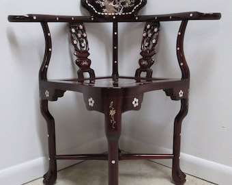 Vintage Asian Chinoiserie Mother Of Pearl Inlay Living Room Arm Chair A