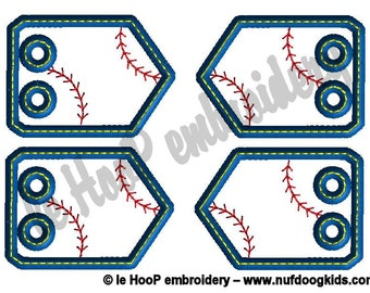 BASEBALL SOFTBALL 1 Stitching Shoe Charms Machine Embroidery In-Hoop Design Monogram 4x4 5x7 6x10 Sports Tags Personalize MLB homerun Team