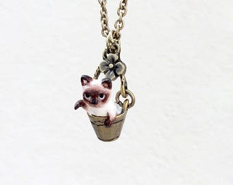Tiny Siamese Cat in the bucket necklace, Cat Pendant, miniature cat, polymer clay cat, cat sculpture, cat lover gifts