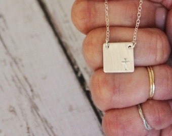 Initial Necklace . Personalized Necklace. Everyday Wear Necklace. Silver square, Personalized Jewelry , Hand Stamped Initial Necklace
