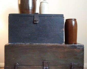 Large Wood Tool Box / Vintage Homemade Wooden Tool Box / Wooden Chest / Wood Tool Box - Coffee Table / Make do Wood Coffee Table