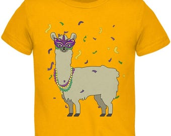 Mardi Gras Llama Beads Mask Toddler T Shirt