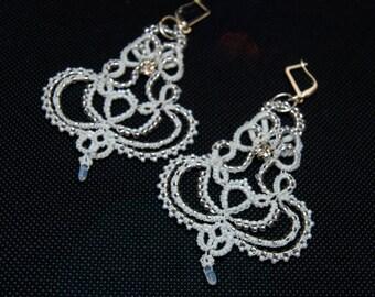 Vintage Bridal Chandelier Earrings, Beaded Crystal Wedding Earrings, White Bridal Jewelry, Tatting Frivolite Delicate Earrings, Womens Gift