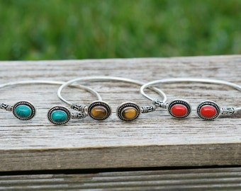 pretty Indian bracelets with embedded stones, turquoise, tiger eye, boho