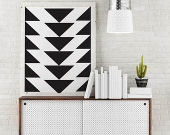 Triangles Poster, Scandinavian Print, Geometric Art Print, Black Triangles, Mid century geometric art, Triangles Print, Abstract Wall Art.