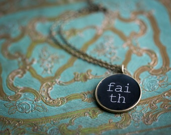 Faith Necklace - Spiritual Jewelry - Glossy Resin Charm - Inspirational Pendant