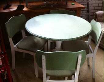 Round dining table and 4 chairs 22