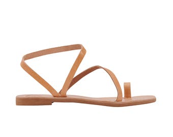 ALESSA ancient Greek leather sandals/ classic leather sandals/ handmade sandals/ strappy sandals/ natural  sandals/ toe ring sandals
