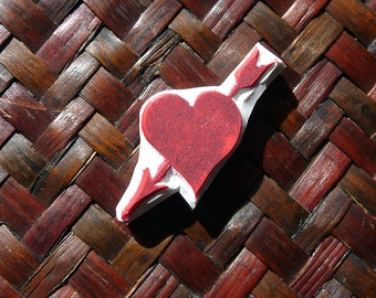 Heart and Arrow Rubber Stamp, Hand Carved, Wedding Stamp. Valentine Gift, Love Heart. Party Stamp