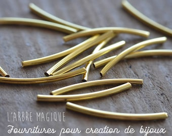 10 tube beads curve plated 30 mm each