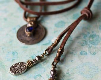 Boho Leather Beaded Lariat Necklace