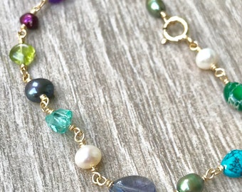 Gemstone and Freshwater Pearl Bracelet in 14k Gold Filled