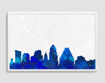 Austin Texas Cityscape and Street Map Blue Watercolor Art Print Office or Home Wall Decor