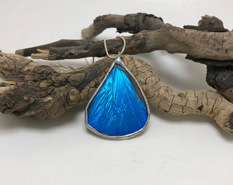 Real butterfly jewelry, Real Butterfly Wing Necklace, handmade butterfly jewelry, butterfly pendant, Neon Blue Morpho Pendant