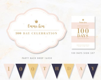 100 Days Korean Baekil 백일 Party Baekil janchi Korean baekil Backdrop Sign Flags Set Kit Doljanchi girl Pink printable DIGITAL FILE