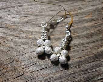Mini Holiday DISCO BALL - myBouquet Beaded Floral Design - Stardust Sterling Silver Earrings - Handmade by Dorana