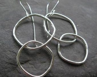 sterling silver square-round earrings with hammered edges . (( Hip to be Square )) . dangle hoop earrings . square hoops . made to order
