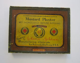 vintage MUSTARD PLASTER tin - Johnson & Johnson early 1900s litho tin